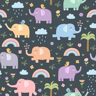 Padrão sem emenda de elefantes engraçados.
