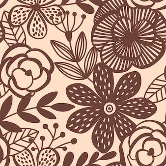 Padrão sem emenda de elegância abstrata com fundo floral