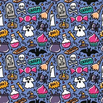 Padrão sem emenda de elemento doodle assustador de halloween
