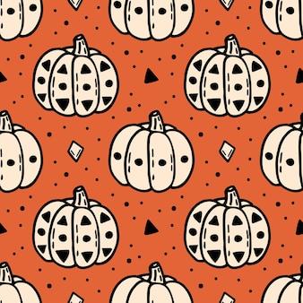 Padrão sem emenda de elementos abóbora de halloween