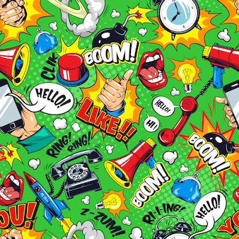 Padrão sem emenda de elementos brilhantes em quadrinhos coloridos