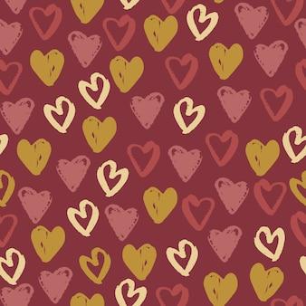 Padrão sem emenda de elementos de coração amour.