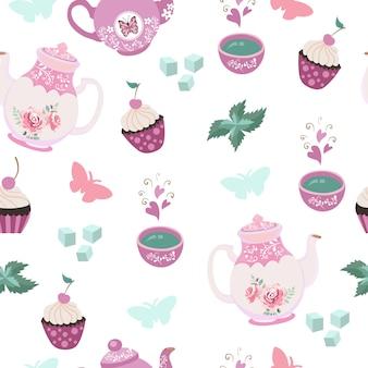 Padrão sem emenda de elementos de festa de chá