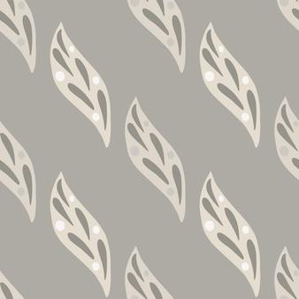 Padrão sem emenda de elementos de folha simples minimalistas em estilo doodle