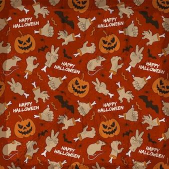 Padrão sem emenda de elementos de halloween com mãos de animais sorrindo lanternas de jack