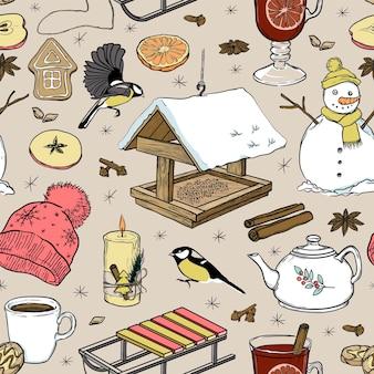 Padrão sem emenda de elementos de inverno. ilustração em vetor desenhada à mão.