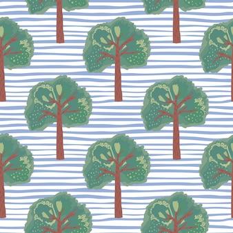 Padrão sem emenda de elementos de mão desenhada de árvore. ornamento botânico verde sobre fundo com faixas azuis e brancas.