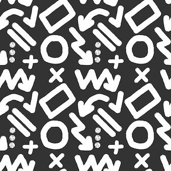Padrão sem emenda de elementos de marcador branco conjunto de formas e setas de símbolos de marca-texto