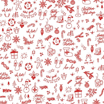Padrão sem emenda de elementos de natal desenhados à mão
