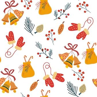 Padrão sem emenda de elementos de natal. sinos, luvas, saco de doces, cones, frutas vermelhas e galhos. férias de inverno aconchegantes. fundo de inverno para tecido, têxtil, roupas, scrapbooking de papel, planejador. vetor