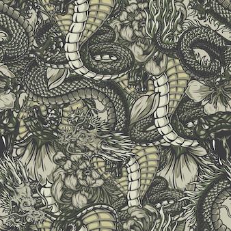 Padrão sem emenda de elementos japoneses vintage com cobra venenosa zangada, fantasia perigosa de dragão crisântemo e flores de sakura
