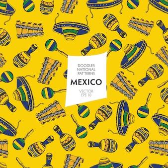 Padrão sem emenda de elementos mexicanos