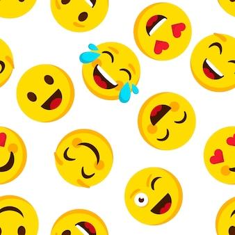 Padrão sem emenda de emoticon. fundo de emojis de desenho animado de emoções