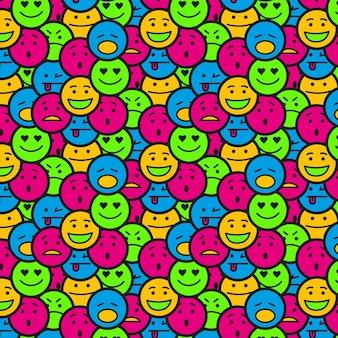 Padrão sem emenda de emoticon sorridente lotado