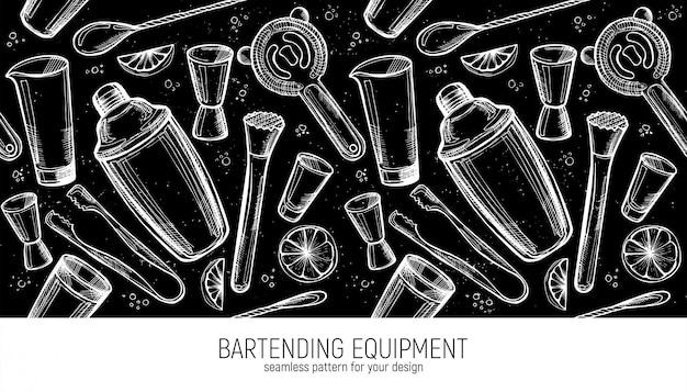 Padrão sem emenda de equipamento de bartender.