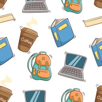 Padrão sem emenda de equipamento escolar com estilo colorido doodle