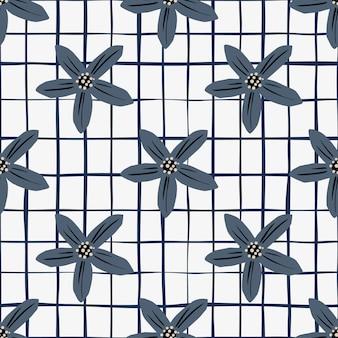 Padrão sem emenda de ervas com formas de flores de tangerina azul marinho