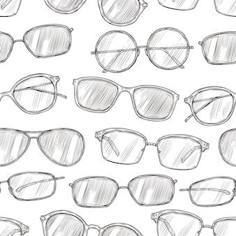 Padrão sem emenda de esboço de óculos de sol. mão desenhada praia óculos 80s retro vector textura. óculos de sol de ilustração e desenho de padrão de óculos