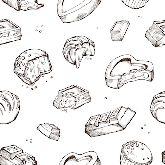Padrão sem emenda de esboços mordidos chocolates. pãezinhos, barras, vidros, cacau. objetos isolados em um branco