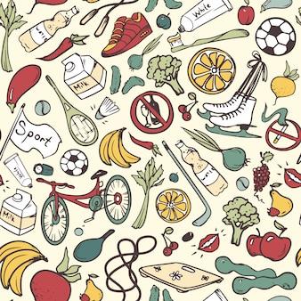 Padrão sem emenda de estilo de vida saudável. mão desenhado fundo com símbolos de fitness, esporte, frutas e legumes. ilustração doodle.