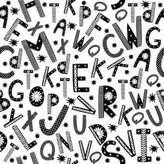 Padrão sem emenda de estilo escandinavo com letras