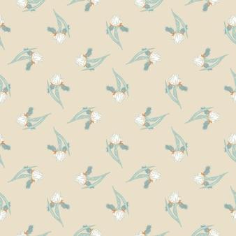 Padrão sem emenda de estilo primavera com pequeno ornamento de flores de íris azul. fundo bege claro. ilustração vetorial para estampas de têxteis sazonais, tecidos, banners, cenários e papéis de parede.