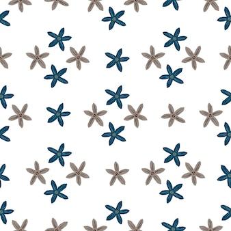 Padrão sem emenda de estilo verão com impressão de formas de flores de tangerina azul e cinza