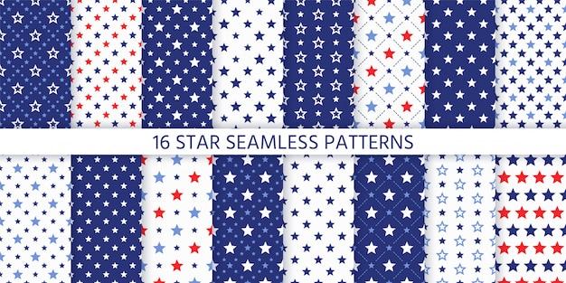 Padrão sem emenda de estrelas. estampas americanas azuis e vermelhas patrióticas.