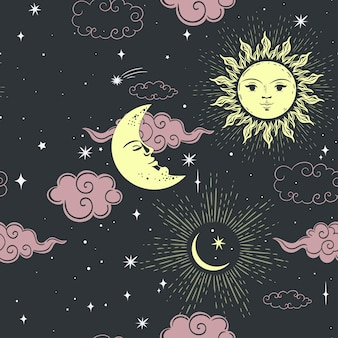 Padrão sem emenda de estrelas, sol e lua