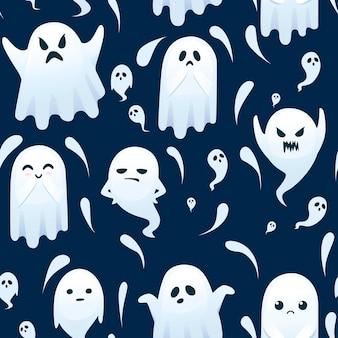 Padrão sem emenda de fantasma assustador bonito com diferentes emotes na ilustração em vetor plana rosto desenho personagem em fundo escuro.