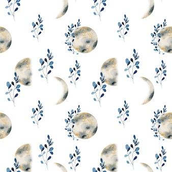 Padrão sem emenda de fases da lua dourada em aquarela e ramos azuis