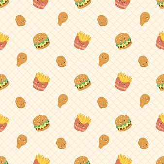 Padrão sem emenda de fast food fofo