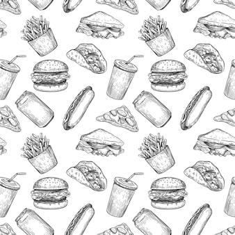 Padrão sem emenda de fast food