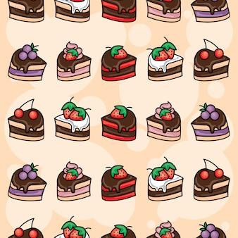 Padrão sem emenda de fatia de bolo de chocolate doce