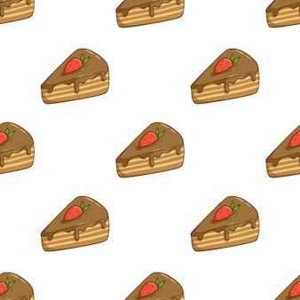 Padrão sem emenda de fatia de chocolate bolo com cobertura de morango com estilo doodle