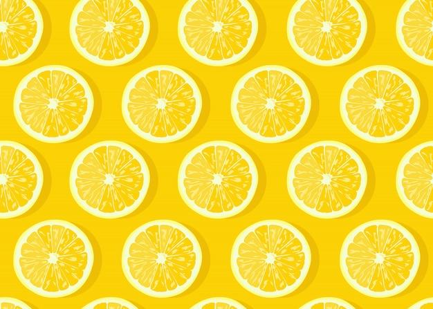 Padrão sem emenda de fatia de frutas limão