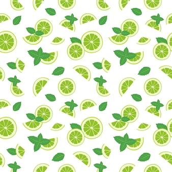 Padrão sem emenda de fatias de limão e folhas de hortelã em branco