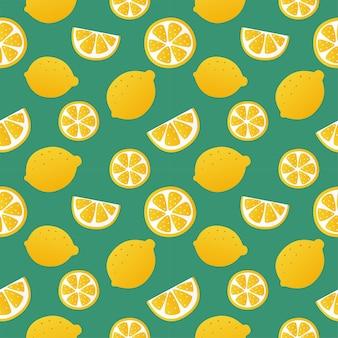 Padrão sem emenda de fatias de limão em elementos de frutas cítricas de fundo verde para menu