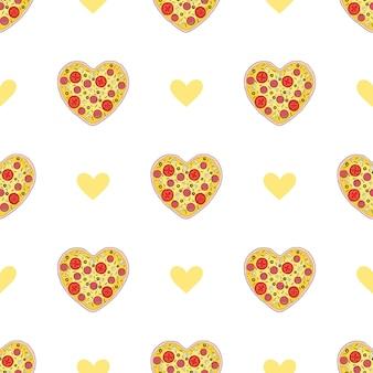 Padrão sem emenda de fatias de pizza de salame. ilustração vetorial no fundo branco. engraçado, fatias de pizza de desenho animado. impressão de padrão de moda de pizza para têxteis ou papel
