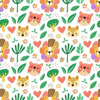 Padrão sem emenda de fauna de flora em estilo doodle. pode ser usado para tecido, etc.
