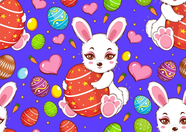 Padrão sem emenda de feliz dia de páscoa, coelho branco fofo, design de personagens de coelho.
