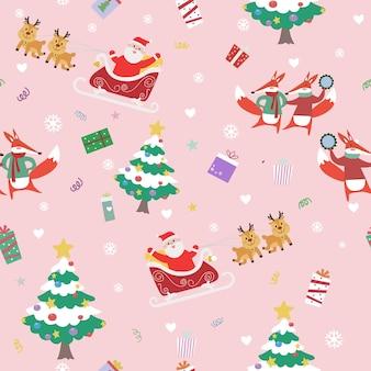 Padrão sem emenda de feliz natal bonito dos desenhos animados.