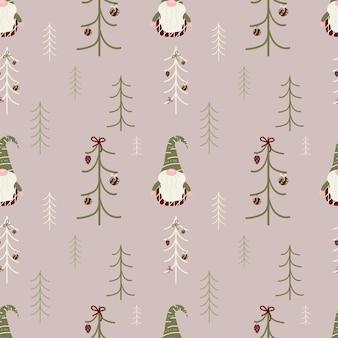 Padrão sem emenda de feliz natal com gnomo fofo e abeto. textura festiva de inverno vetorial