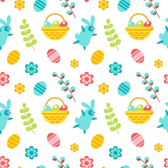 Padrão sem emenda de feliz páscoa com coelho, folhas, cesta, ovo, flor, salgueiro, isolado no fundo branco. ilustração em vetor plana. design para têxteis, embalagem, papel de parede, pano de fundo