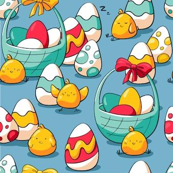 Padrão sem emenda de feriado com doodle símbolos de páscoa.
