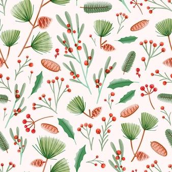 Padrão sem emenda de feriado com folhas de azevinho, visco, pinhas, agulhas e galhos na superfície branca
