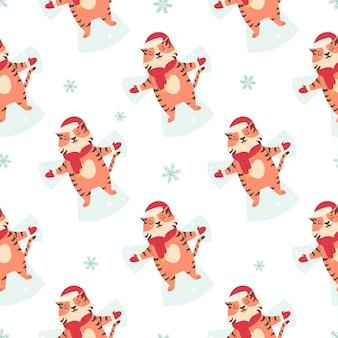 Padrão sem emenda de feriado com tigres engraçados fazendo anjos de neve.