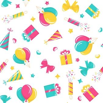 Padrão sem emenda de festa de aniversário com balões, poppers, chapéus, caixas de presente e arcos em fundo branco. fundo de desenho vetorial para carnaval, celebração de aniversário e eventos festivos