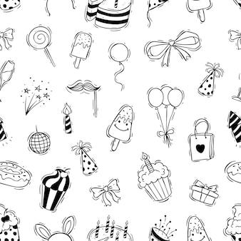 Padrão sem emenda de festa de aniversário com estilo doodle