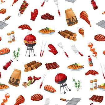 """Padrão sem emenda de festa de churrasco, ilustração vetorial. fundo com churrasqueira, churrasqueira ou piquenique. salmão grelhado, linguiça, legumes, bife de carne ñ """"ñ'ð² camarão."""